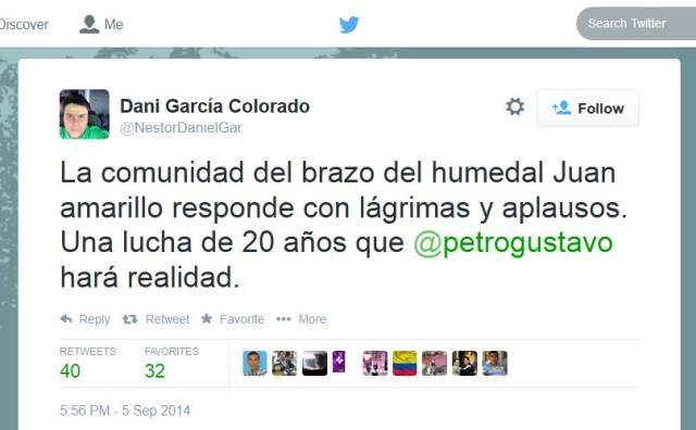 Twitt de Daniel Garcia